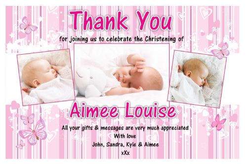 10 Personalised Girls Christening / Baptism Thankyou PHOTO Cards N224